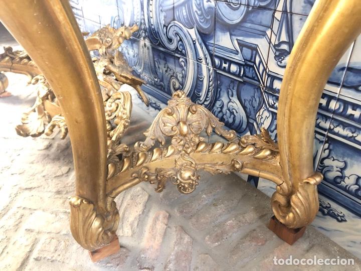 Antigüedades: Consola isabelina dorada siglo XIX, 148 cm - Foto 8 - 275212643