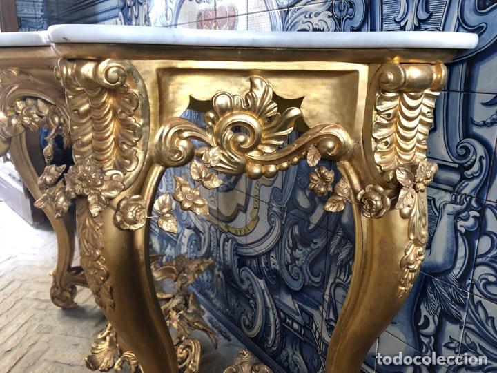 Antigüedades: Consola isabelina dorada siglo XIX, 148 cm - Foto 9 - 275212643