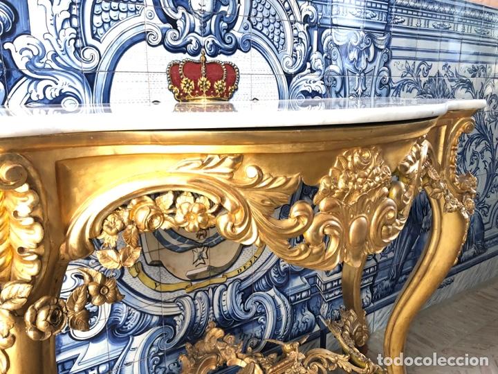 Antigüedades: Consola isabelina dorada siglo XIX, 148 cm - Foto 10 - 275212643