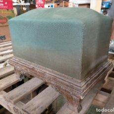 Antigüedades: ANTIGUO REPOSAPIÉS DE MADERA Y TELA PARA RESTAURAR DE LOS AÑOS 40. Lote 275263168