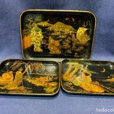Antigüedades: LOTE TRES BANDEJAS TARJETEROS VACIABOLSILLOS PAPIER MACHE JAPONISMO JAPON S XIX 18,5X25,5CMS. Lote 275267933