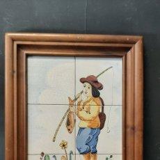Antigüedades: CUADRO DE AZULEJOS PINTADOS A MANO. Lote 275272508
