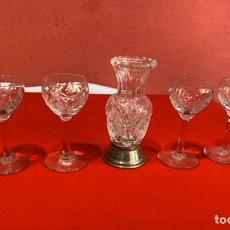 Antiquités: JUEGO DE CRISTAL BOHEMIA ORIGINAL CON PLATA . VER FOTOS. Lote 275283088