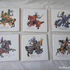 Antigüedades: CONJUNTO DE 6 AZULEJOS CABALLOS MEDIEVALES DE AZULEJOS LA PALOMA ALCORA 15 X 15 CM. Lote 275297108