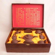Antigüedades: SET ANTIGUO DE TE FABRICADO EN CHINA DE PIEDRA YIXING - COMO NUEVO. Lote 275319793
