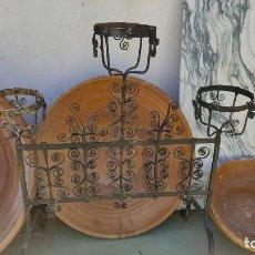 Antiguidades: MACETEROS DE HIERRO DE FORJA. Lote 275322533