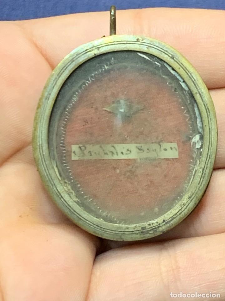 RELICARIO LATON PLATEADO S XVIII XIX SAN PASCUAL BAILON 4X3,5CMS (Antigüedades - Religiosas - Relicarios y Custodias)