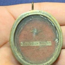 Antigüedades: RELICARIO LATON PLATEADO S XVIII XIX SAN PASCUAL BAILON 4X3,5CMS. Lote 275479738