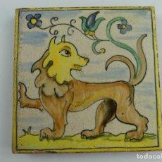 Antigüedades: ANTIGUO AZULEJO IMAGEN DE LEON OBJETO DE COLECCIÓN. Lote 275487323