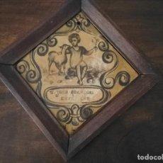 Antigüedades: ANTIGUO AZULEJO (S. XIX). SAN JOAO ABENCORI ESTE LAR. SAN JUAN BENDICE ESTE HOGAR. PORTUGAL.. Lote 275506058