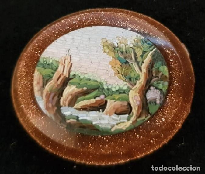 MICROMOSAICO. AVENTURINA. ITALIA. SIGLO XIX (Antigüedades - Moda - Otros)