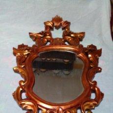 Antigüedades: ANTIGUA CORNUCOPIA-ESPEJO ORIGINAL CON MARCO DE MADERA TALLADA CON PAN DE ORO SIGLO XIX. Lote 275609263