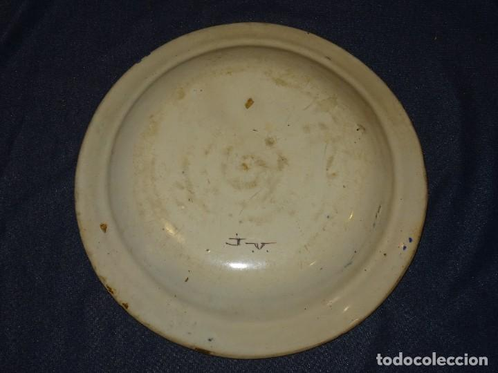 Antigüedades: (M) ANTIGUO PLATO DE RIBESALBES S.XIX LAÑADO VER FOTOGRAFÍAS 30 cm. - Foto 3 - 275666268