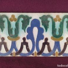 Antiquités: 1930´S, ANTIGUO AZULEJO DE TALAVERA, MOSAICO COLOR, RUIZ DE LUNA, DECORACIÓN CUERDA SECA, 28 X 14 CM. Lote 275667528
