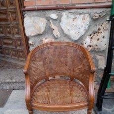 Antiquités: SILLÓN REDONDO DE REJILLA. Lote 275673243