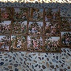 Antigüedades: SERIE LOTE 14 TAPETES FERNANDEZ ANGULO SA MADRID ESCENAS VIDA CAMPO 52X54CMS. Lote 275737533