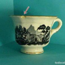 Antigüedades: TAZA GRANDE DE LOZA DECORADA TIPO VISTAS. FILO DE ORO. MARCA SIN IDENTIFICAR EN BASE. Lote 275746873