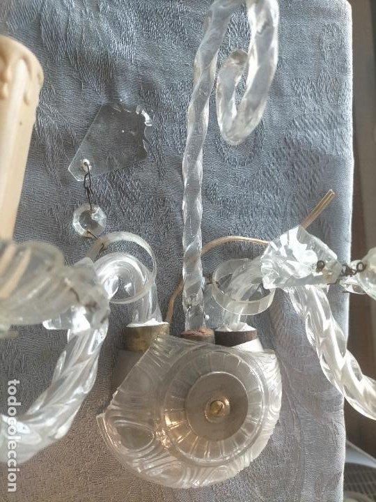 Antigüedades: Pareja de lamparas / apliques de cristal tallado y lagrimas años 40-50 - Foto 11 - 275788288