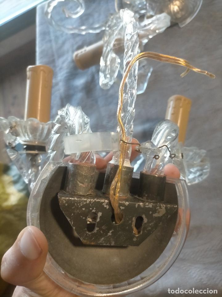 Antigüedades: Pareja de lamparas / apliques de cristal tallado y lagrimas años 40-50 - Foto 14 - 275788288