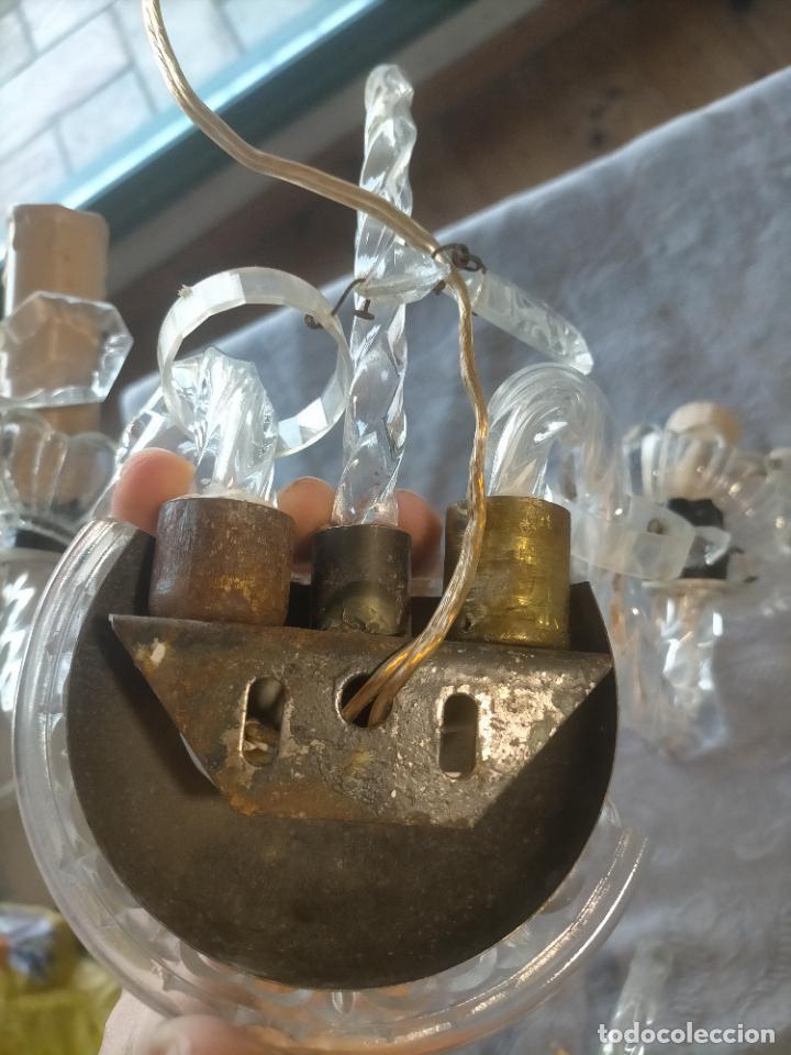 Antigüedades: Pareja de lamparas / apliques de cristal tallado y lagrimas años 40-50 - Foto 15 - 275788288