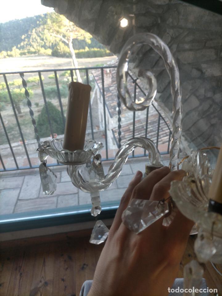 Antigüedades: Pareja de lamparas / apliques de cristal tallado y lagrimas años 40-50 - Foto 16 - 275788288