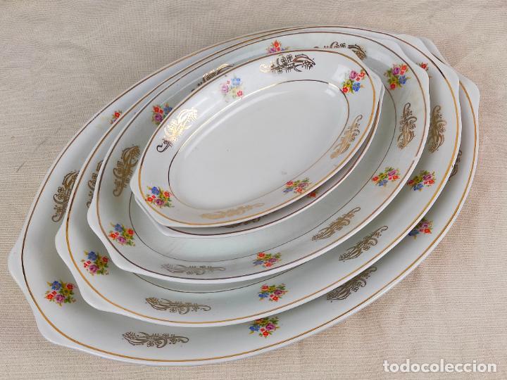 Antigüedades: vajilla porcelana royal china vigo platos y bandejas - ribete dorado - Foto 9 - 275879953