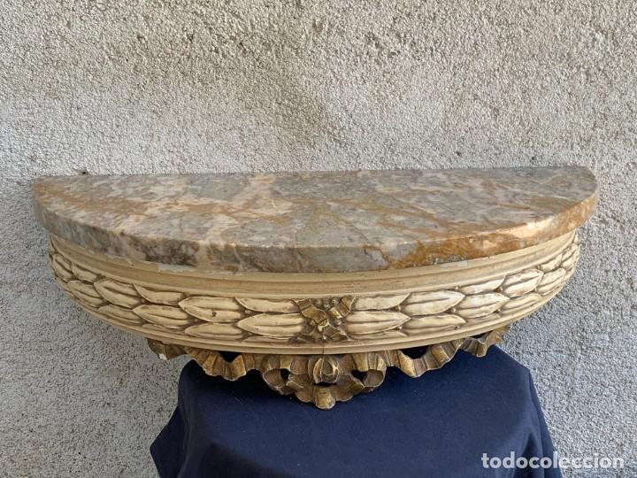 MENSULA CONSOLA COLGAR RECIBIDOR ESTILO NEOCLASICO VACIA BOLSILLO MARMOL MADERA MITAD S XX 19X56X28C (Antigüedades - Muebles Antiguos - Auxiliares Antiguos)