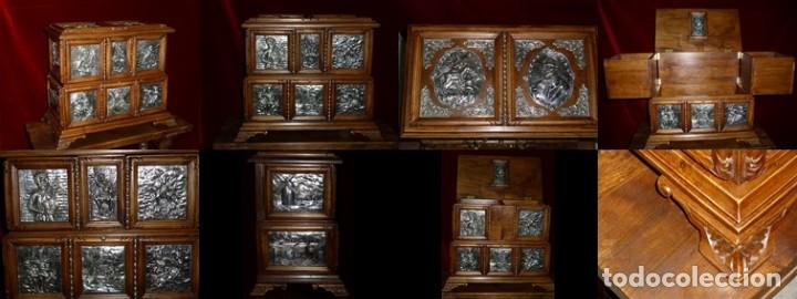 ARQUETA, PLATA Y NOGAL ESPAÑOL ( HOMENAJE A EL QUIJOTE) OBRA ÚNICA, 50 X 40 X 30 CM (Antigüedades - Muebles Antiguos - Bargueños Antiguos)