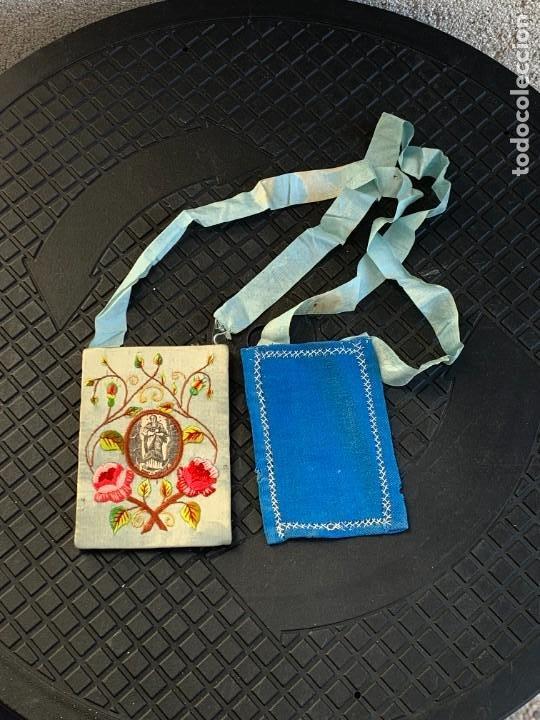 ESCAPULARIO ANTIGUO TELA IMPRESA S XIX BORDADO FLORES VIRGEN INMACULADA 9,5X7CMS (Antigüedades - Religiosas - Escapularios Antiguos)