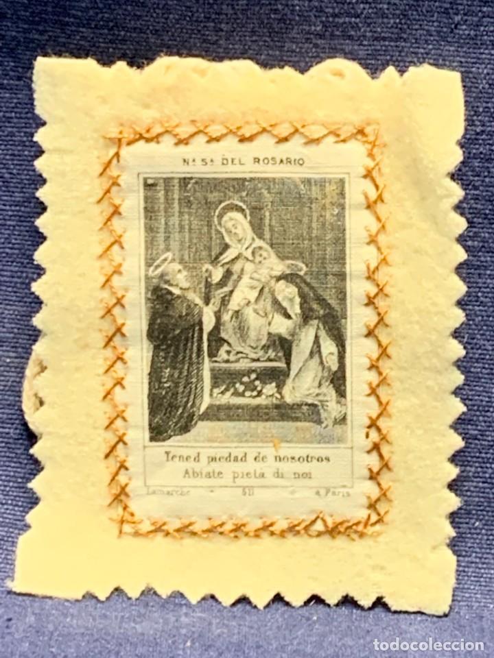 ANTIGUO ESCAPULARIO NUESTRA SEÑORA DEL ROSARIO S XIX 8X6CMS (Antigüedades - Religiosas - Escapularios Antiguos)
