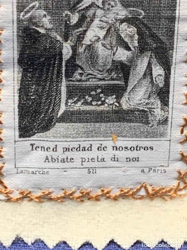 Antigüedades: ANTIGUO ESCAPULARIO NUESTRA SEÑORA DEL ROSARIO S XIX 8X6CMS - Foto 4 - 275922268