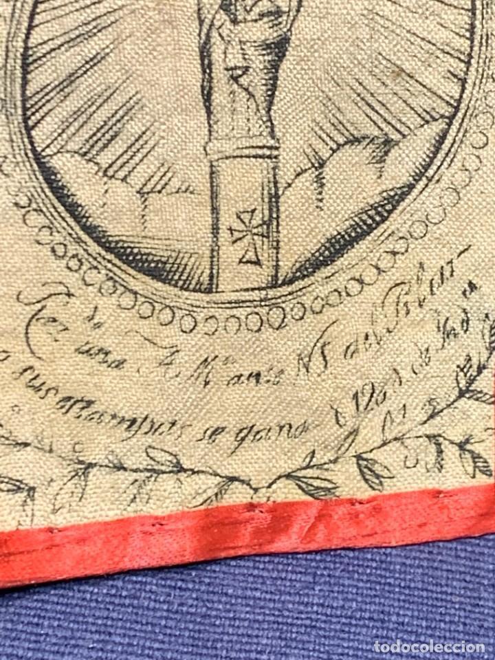 Antigüedades: ANTIGUO ESCAPULARIO TELA FLORES S XIX NUESTRA SEÑORA DEL PILAR 7,5X5CMS - Foto 4 - 275922533