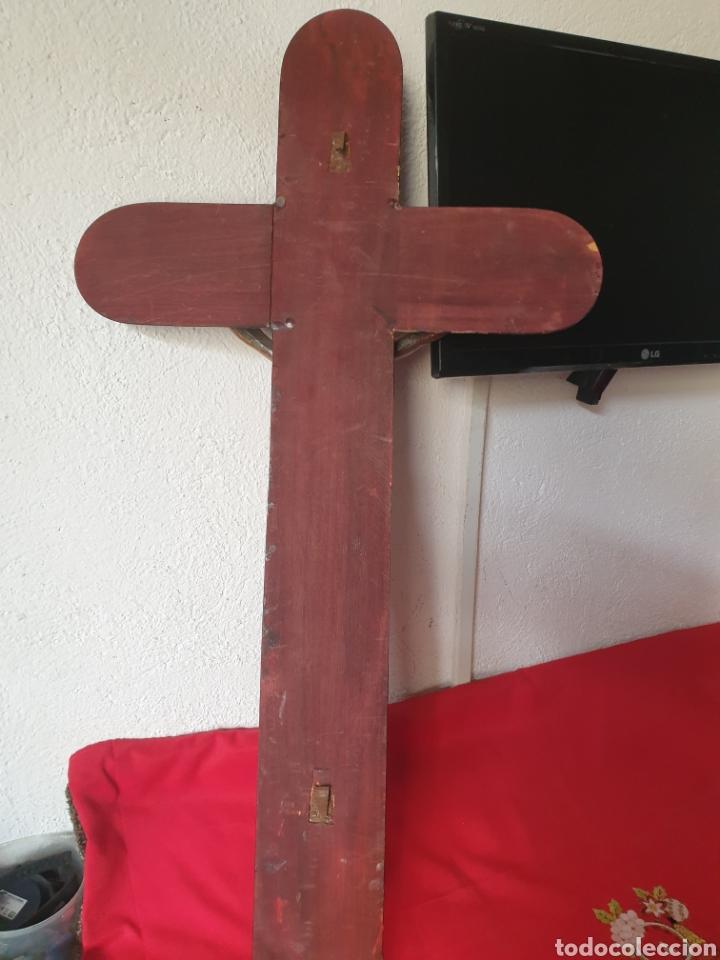 Antigüedades: Antiguo y grande crucifijo religioso madera y bronce - Foto 5 - 275974708