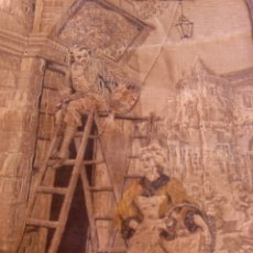 Antigüedades: DOS TAPICES ANTIGUOS DE 44× 54 CM.. Lote 276041028