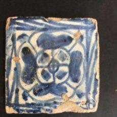 Antiquités: AZULEJO GOTICO VALENCIANO. (8,5 X 8,5 CM) SIGLO XV. OLAMBRILLA.. Lote 276044373