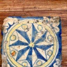 Antiquités: AZULEJO POLICROMADO DE TALAVERA SG XVII (11 X 11 CM). Lote 276044553