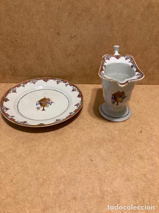 PLATO Y JARRA DE COMPAÑÍA DE INDIAS (Antigüedades - Porcelanas y Cerámicas - China)