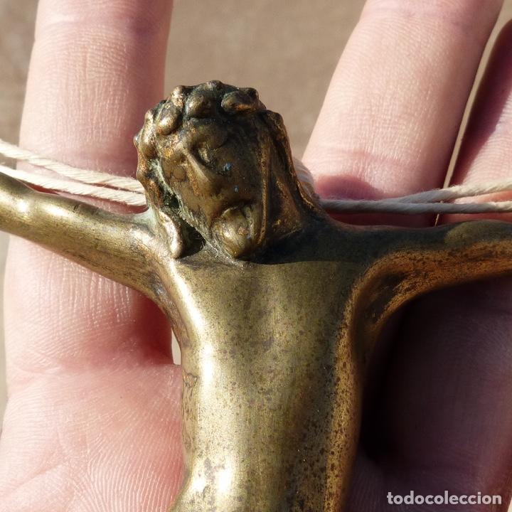 Antigüedades: Antiguo cristo de bronce gotico , siglo XVIII o anterior . - Foto 2 - 276079098