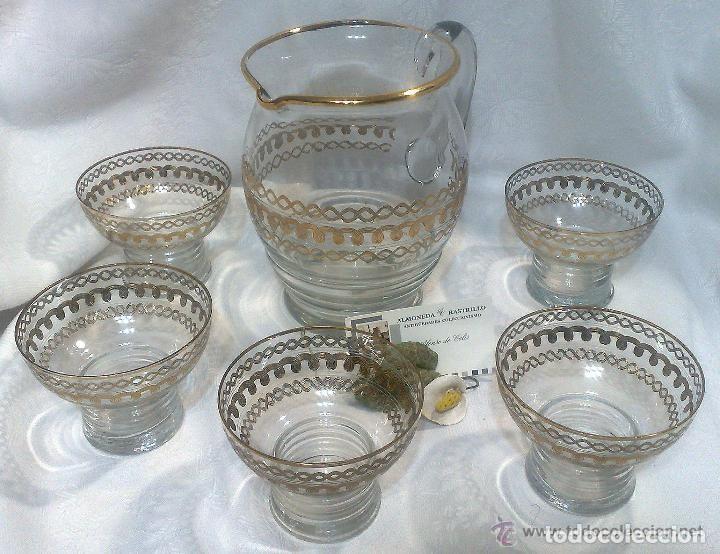 ORIGINAL JUEGO DE AGUA EN CRISTAL DECORADO EN ORO . (Antigüedades - Cristal y Vidrio - Otros)