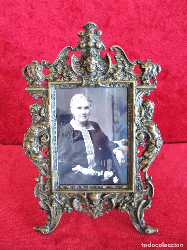 Antigüedades: PORTAFOTOS, MARCO PARA FOTOS EN BRONCE , PORTARETRATO - Foto 3 - 276184583