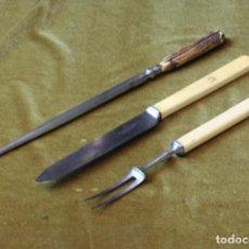 Antigüedades: ANTIGUO JUEGO DE CUBIERTOS PARA TRINCHAR CARNE,J.G.STARK&CO.. Lote 276198533