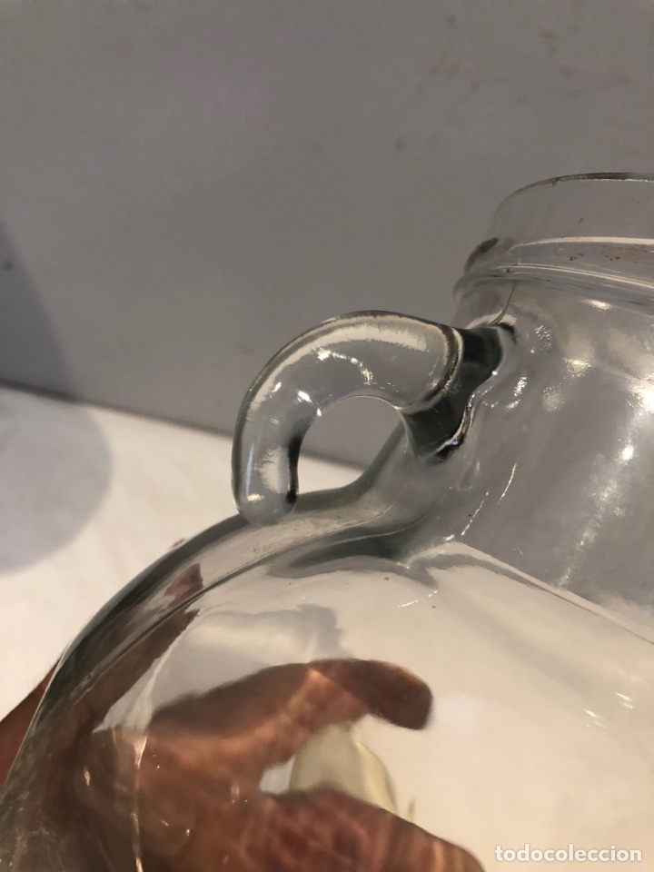 Antigüedades: Tarro de vidrio transparente, manijas dobles ornamentadas únicas,ver las fotos y la descripción - Foto 7 - 276206738