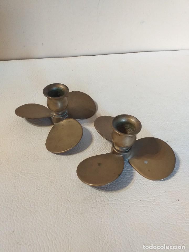 Antigüedades: Pareja de porta velas hélices de barco en bronce - Foto 3 - 276214688
