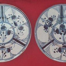 Antiguidades: 2 PLATOS DE CERÁMICA DECORADOS A MANO. Lote 276257058