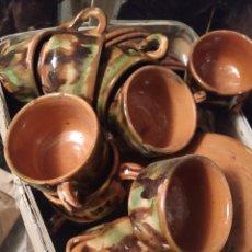 Antigüedades: SERVICIO DE CAFÉ DE CERÁMICA ANTIGUA DE CAMUFLAJE. Lote 276258078