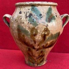 Antigüedades: ORZA MUY ANTIGUA DE BAILEN O UBEDA VIDRIADA Y DECORACION RARA 25 CMS. DE ALTO Y 25 CMS. DIAMETRO. Lote 276272988