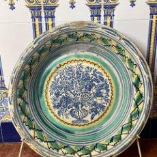 Antiquités: ANTIGUO LEBRILLO DE TRIANA DE 70 CM DE DIÁMETRO CON EL ÁRBOL DE LA VIDA XIX. Lote 276289628
