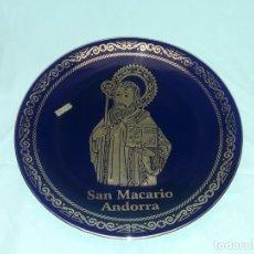 Antigüedades: BELLO PLATO DE PORCELANA M&M SAN MACARIO ANDORRA DECORACIÓN ORO DE LEY 24.5CM. Lote 276409523