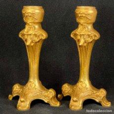 Antigüedades: ANTIGUA PAREJA CANDELABROS PORTAVELAS ART NOUVEAU 1900 ALTURA 15,5CM. Lote 276411993