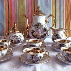 Antigüedades: PRECIOSO JUEGO DE CAFE SANTA CLARA DORADO-FIRMADO MOISES ALVAREZ-AÑOS 50-60. Lote 276414628